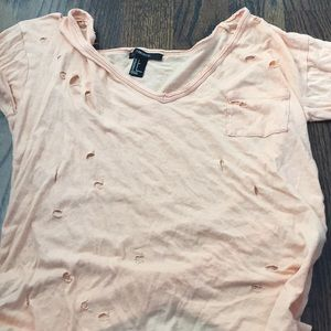Pink forever 21 short sleeve distressed shirt